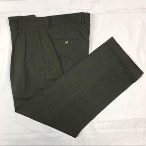 Claiborne Men's Olive Green Pleated Dress Pants